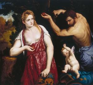 Mars, Venus and Cupid *oil on canvas *118 x 151 cm *signed b.l.: O. PARIDIS / Bordono *circa 1550 - 1560